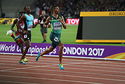 London, August 08 2017 . Wayde van Niekerk, South Africa, wins the men's 400m final ahead of Steven Gardiner, Bahamas, and Abdalelah Haroun, Qatar, on day five of the IAAF London 2017 world Championships at the London Stadium. © Paul Davey.
