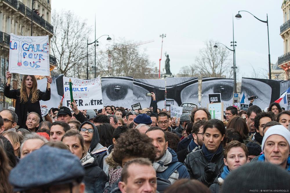 Marche républicaine en soutien aux victimes de l'attentat contre le journal Chalie Hebdo le 11 janvier à Paris - Place de la Nation - Je suis Charlie