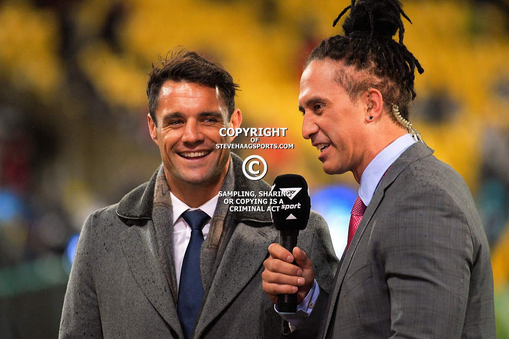 Dan Carter chats to Skysport's Karl Te Nana during the 2017 DHL Lions Series 2nd test rugby match between the NZ All Blacks and British & Irish Lions at Westpac Stadium in Wellington, New Zealand on Saturday, 1 July 2017. Photo: Dave Lintott / lintottphoto.co.nz