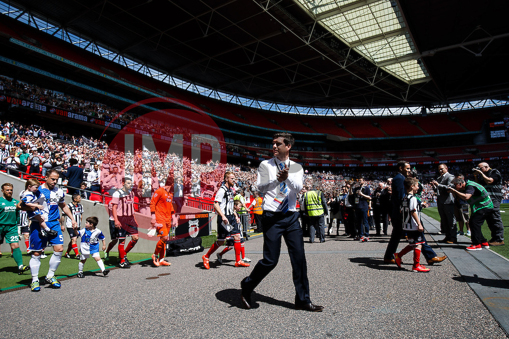 Bristol Rovers Manager Darrell Clarke leads his side out before the match - Photo mandatory by-line: Rogan Thomson/JMP - 07966 386802 - 17/05/2015 - SPORT - FOOTBALL - London, England - Wembley Stadium - Bristol Rovers v Frimsby Town - Vanarama Conference Premier Play-off Final.