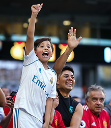 July 31, 2018 - Miami Gardens, Florida, USA - Fans wave at players entering the field at the beginning of an International Champions Cup match between Real Madrid C.F. and Manchester United F.C. at the Hard Rock Stadium in Miami Gardens, Florida. Manchester United F.C. won the game 2-1. (Credit Image: © Mario Houben via ZUMA Wire)