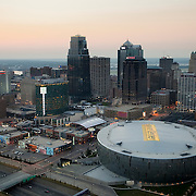 Aerial photo of Sprint Center arena and KC skyline, downtown Kansas City, MO.