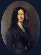 Aurore Amadine Lucie Dupin (1804-1876), 1835. French novelist and feminist who wrote under the name of George Sand.  Portrait by August Charpentier (1813-1880) French painter. Frederic Chopin (1837-1847) was one of her lovers.