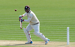 Surrey's Steven Davies flicks the ball off the bowling of Glamorgan's Andy Carter. - Photo mandatory by-line: Harry Trump/JMP - Mobile: 07966 386802 - 20/04/15 - SPORT - CRICKET - LVCC County Championship - Division 2 - Day 2 - Glamorgan v Surrey - Swalec Stadium, Cardiff, Wales.