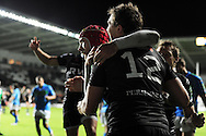 Ashley Beck of the Ospreys celebrates  his try with teammates. Heineken cup, season 2012-2013, pool 2 match, Ospreys v Benetton Treviso at the Liberty Stadium in Swansea, South Wales on Friday 12th October 2012.  pic by  Andrew Orchard, Andrew Orchard sports photography,