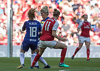 Football - SSE Women's FA Cup Final - Arsenal Women vs. Chelsea Ladies<br /> <br /> Maren Mjelde (Chelsea Ladies FC) and Millie Bright (Chelsea Ladies FC) collide as they go for the same ball at Wembley Stadium.<br /> <br /> COLORSPORT/DANIEL BEARHAM