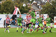 Forest Green Rovers Aaron Collins(10) heads the ball during the EFL Sky Bet League 2 match between Exeter City and Forest Green Rovers at St James' Park, Exeter, England on 12 October 2019.