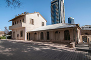 Renovated and restored building in the grounds of Neve Tzedek Tower, Tel Aviv, Israel