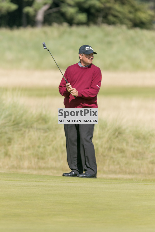 Ken Tarling (Canada) watches his putt.  Prostate Cancer UK Scottish Senior Open, 28th August 2015
