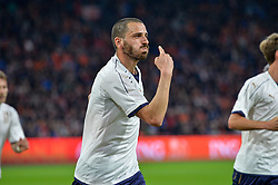 March 28, 2017 - Amsterdam, Netherlands - Leonardo Bonucci from Italy claims a goal during the friendly match between Netherlands and Italy on March 28, 2017 at the Amsterdam ArenA in Amsterdam, Netherlands. (Credit Image: © Andy Astfalck/NurPhoto via ZUMA Press)