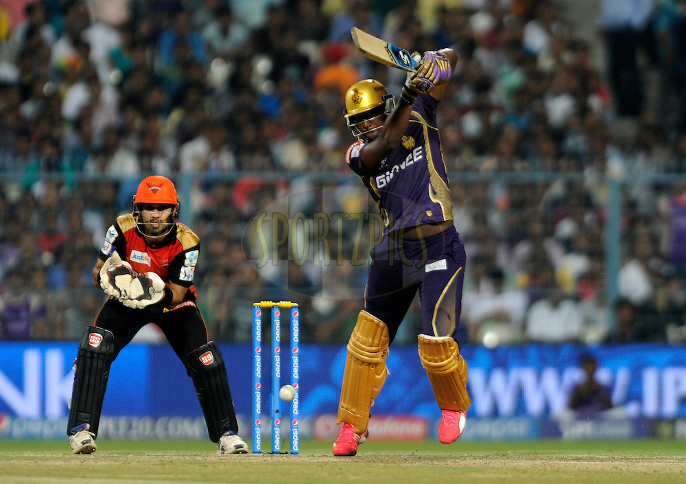 Andre Russell of Kolkata Knight Riders bats during match 38 of the Pepsi IPL 2015 (Indian Premier League) between The Kolkata Knight Riders and The Sunrisers Hyderabad held at Eden Gardens Stadium in Kolkata, India on the 4th May 2015.<br /> <br /> Photo by:  Pal Pillai / SPORTZPICS / IPL