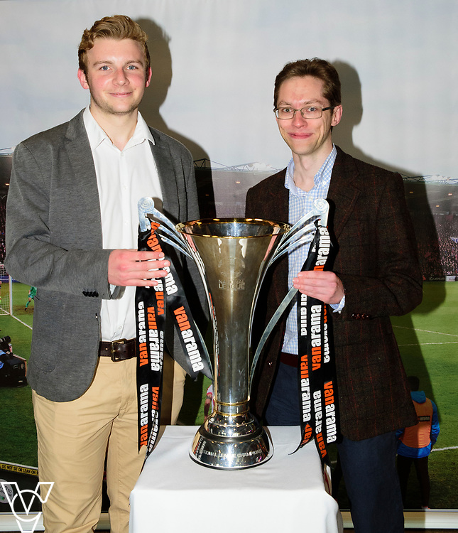 Lincoln City fans with the Vanarama National League Trophy<br /> <br /> Lincoln City Football Club's 2016/17 End of Season Awards night - Champions Seasons Awards Dinner - held at the Lincolnshire Showground.<br /> <br /> Picture: Andrew Vaughan for Lincoln City Football Club<br /> Date: May 20, 2017 Champions Seasons Awards Dinner: Championship Season Awards Dinner