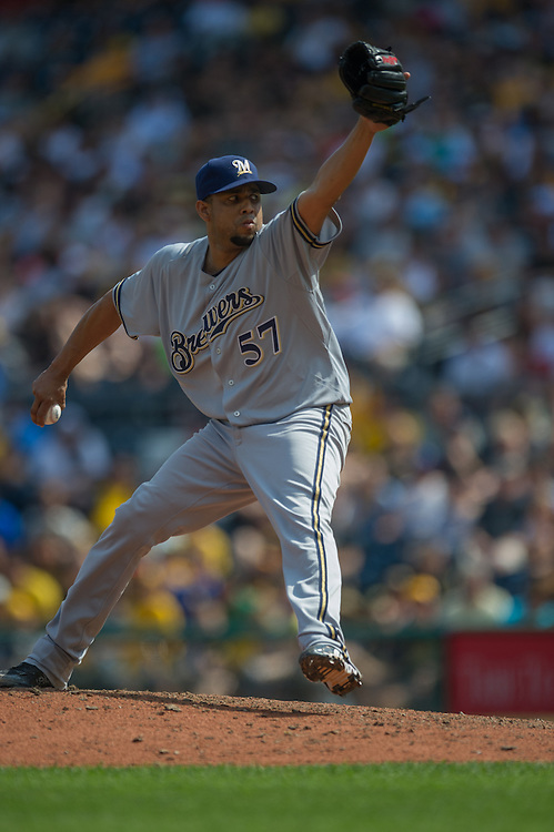 PITTSBURGH, PA - JUNE 08: Francisco Rodriguez #57 of the Milwaukee Brewers pitches during the game against the Pittsburgh Pirates at PNC Park on June 8, 2014 in Pittsburgh, Pennsylvania. (Photo by Rob Tringali) *** Local Caption *** Francisco Rodriguez