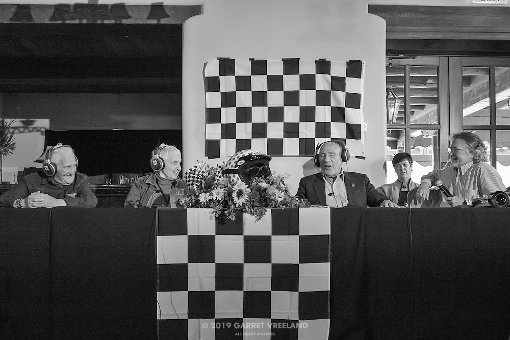 Norman Dewis, Denise McCluggage, Sir Stirling Moss, Tim Considine, Legends of Racing lecture at the Las Campanas Clubhouse, 2013 Santa Fe Concorso.