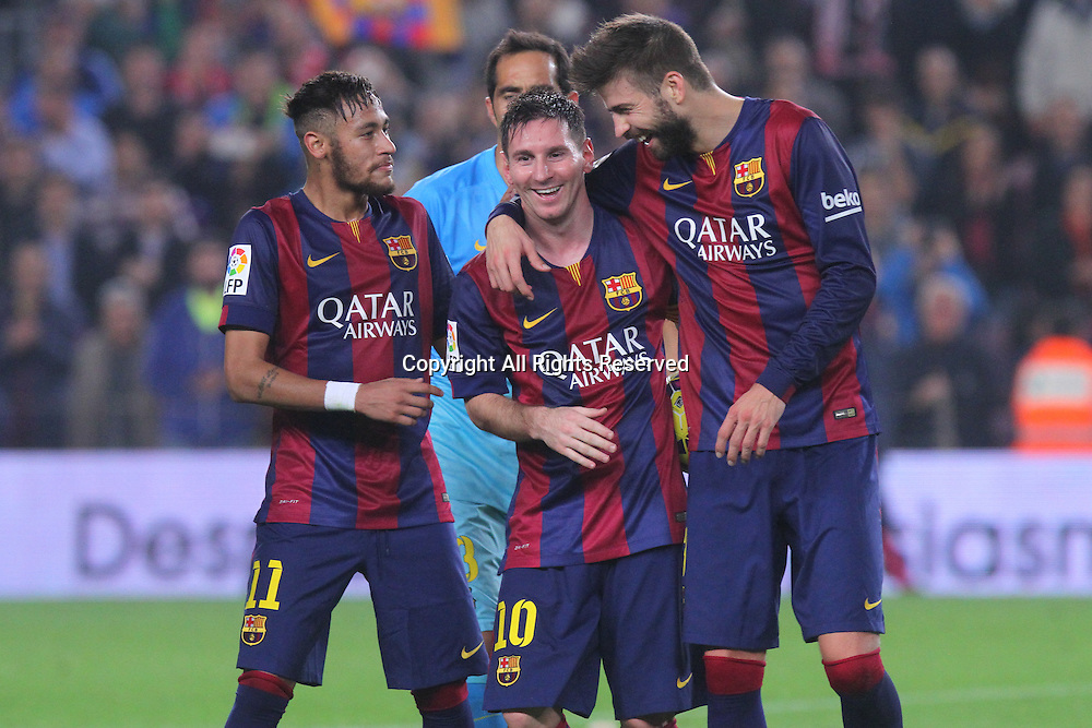 22.11.2014. Barcelona. Spain, La Liga football. Barcelona versus Sevilla. Leo Messi celebrates his 2nd goal with team mates during game at Camp Nou.  Leo Messi  became the leading scorer in la Liga and beat Zarra's goals record