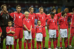 BIRMINGHAM, ENGLAND - Monday, October 13, 2008: Wales' players before the UEFA European Under-21 Championship Play-Off 2nd Leg match against England at Villa Park. L-R: goalkeeper Owain Fon Williams, Sam Vokes, Andy King, Simon Church, Joe Jacobson (Photo by Gareth Davies/Propaganda)