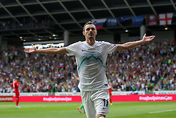 Milivoje Novakovic of Slovenia celebrates after scoring first goal for Slovenia during the EURO 2016 Qualifier Group E match between Slovenia and England at SRC Stozice on June 14, 2015 in Ljubljana, Slovenia. Photo by Vid Ponikvar / Sportida