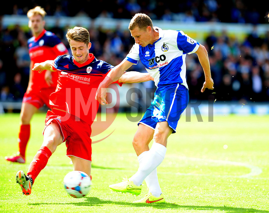 AFC Telford's Neill Byrne challenges Bristol Rovers' Dave Martin - Photo mandatory by-line: Neil Brookman - Mobile: 07966 386802 23/08/2014 - SPORT - FOOTBALL - Bristol - Memorial Stadium - Bristol Rovers v AFC Telford - Vanarama Football Conference