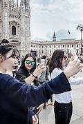 Milan, Chinese selfie in Piazza del Duomo