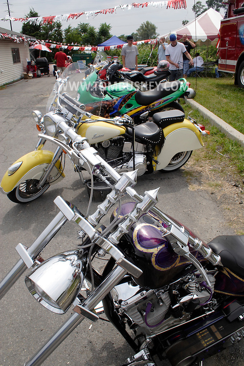 Middletown, N.Y. - Motorcyle enthusiasts look over the bikes on display during the grand opening of Hot Air Graphixx on Aug. 19, 2006. The shop offers custum motorcyle artwork. ©Tom Bushey