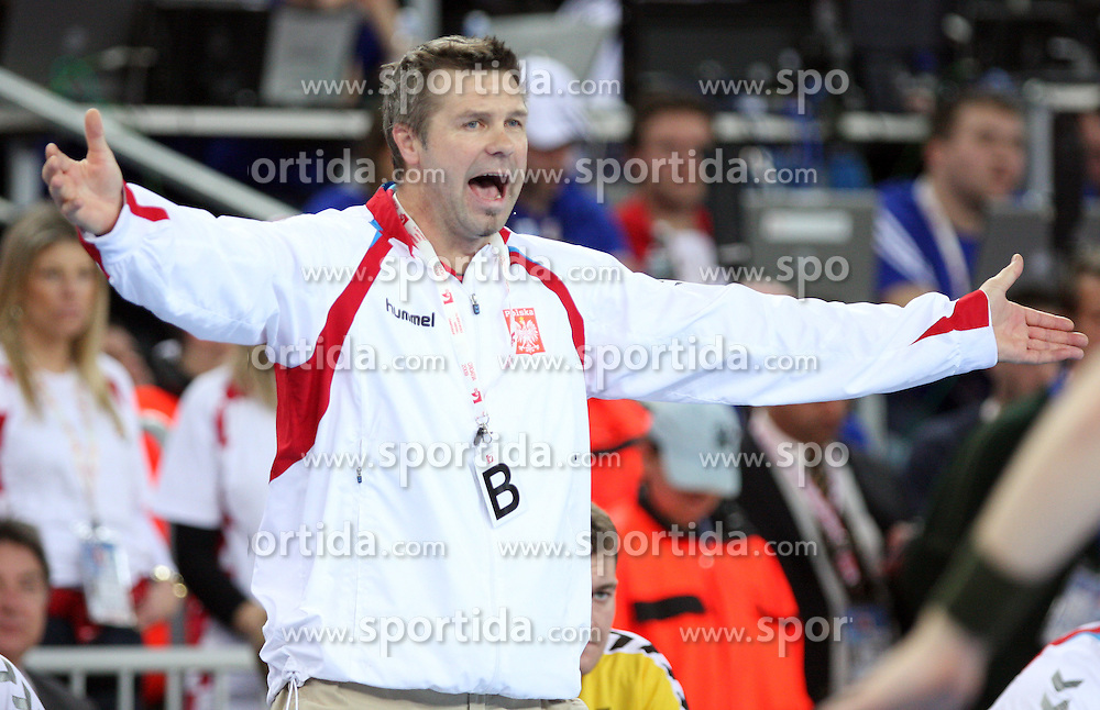 Head coach of Poland Bogdan Wenta during 21st Men's World Handball Championship 2009 semifinals match between National teams of Poland and Croatia, on January 30, 2009, in Arena Zagreb, Zagreb, Croatia.  (Photo by Vid Ponikvar / Sportida)