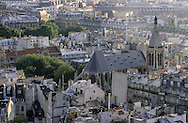 France. Paris elevated view from Notre dame cathedral. The roofs of quartier latin. View from Notre Dame cathedral