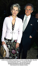 LORD & LADY HINDLIP at a dinner in London on 24th May 2004.PUJ 252