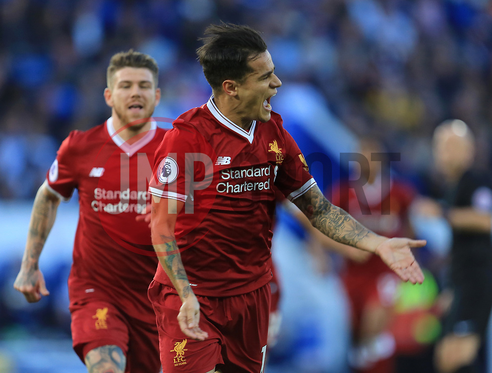 Philippe Coutinho of Liverpool celebrates after scoring the opening goal for his side (0-1) - Mandatory by-line: Paul Roberts/JMP - 23/09/2017 - FOOTBALL - King Power Stadium - Leicester, England - Leicester City v Liverpool - Premier League