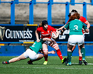 Bethan Lewis of Wales is tackled by Deirbhile Nic a Bhaird of Ireland <br /> <br /> Photographer Simon King/Replay Images<br /> <br /> Six Nations Round 5 - Wales Women v Ireland Women- Sunday 17th March 2019 - Cardiff Arms Park - Cardiff<br /> <br /> World Copyright © Replay Images . All rights reserved. info@replayimages.co.uk - http://replayimages.co.uk