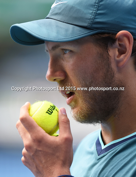France's Lucas Pouille during his singles match on Day 3 at the Heineken Open. Festival of Tennis, ATP World Tour. ASB Tennis Centre, Auckland, New Zealand. Wednesday 14 January 2015. Copyright photo: Andrew Cornaga/www.photosport.co.nz