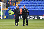 Hill City Manager, Steve Bruce and Dean Holdsworth during the Sky Bet Championship match between Bolton Wanderers and Hull City at the Macron Stadium, Bolton, England on 30 April 2016. Photo by Mark Pollitt.