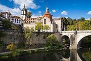 Igreja de Sao Goncalo 16th Century Manueline (baroque) cathedral and bridge over River Tamega in Amarante, Portugal