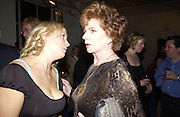 Daisy Garnett and  Edna O'Brien. party for Anthony Lane's book hosted  given by David Remnick, editor of the New Yorker. River Cafe. 12 November 2002.  © Copyright Photograph by Dafydd Jones 66 Stockwell Park Rd. London SW9 0DA Tel 020 7733 0108 www.dafjones.com