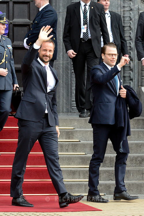 16.04.2015. Copenhagen, Denmark.<br /> Crown Prince Haakon and Prince Daniel leaves the Town Hall after lunch during festivities for the 75th birthday of Queen Margrethe II of Denmark.<br /> Photo:© Ricardo Ramirez