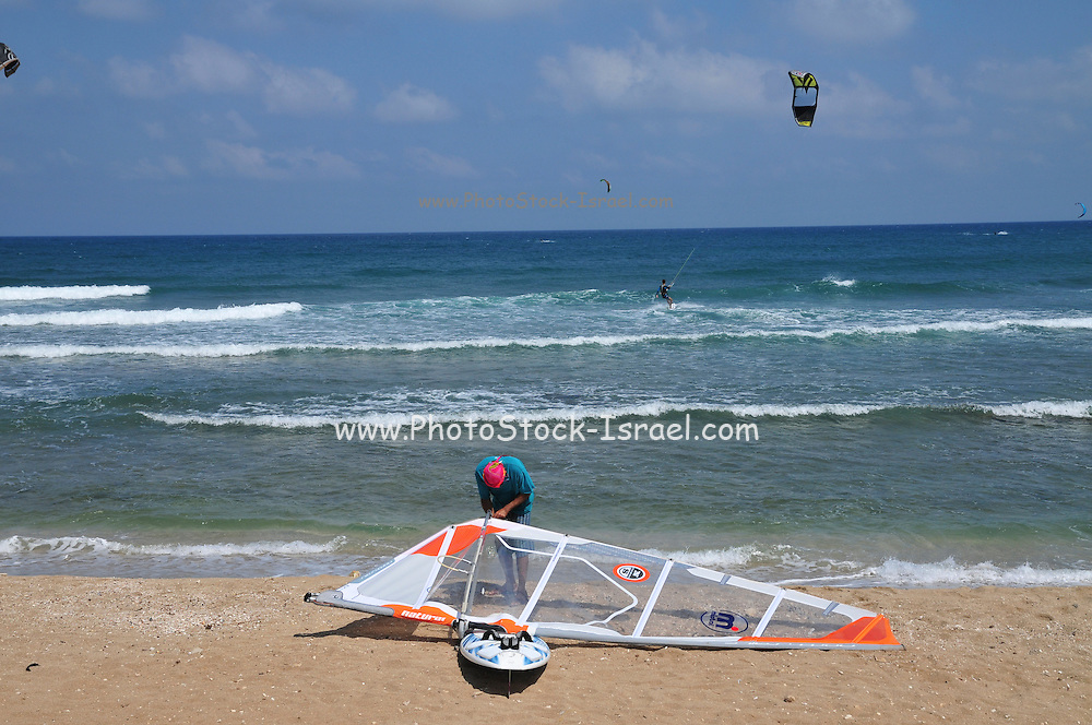 Kitesurfing in the Mediterranean Sea Photographed in Haifa, Israel