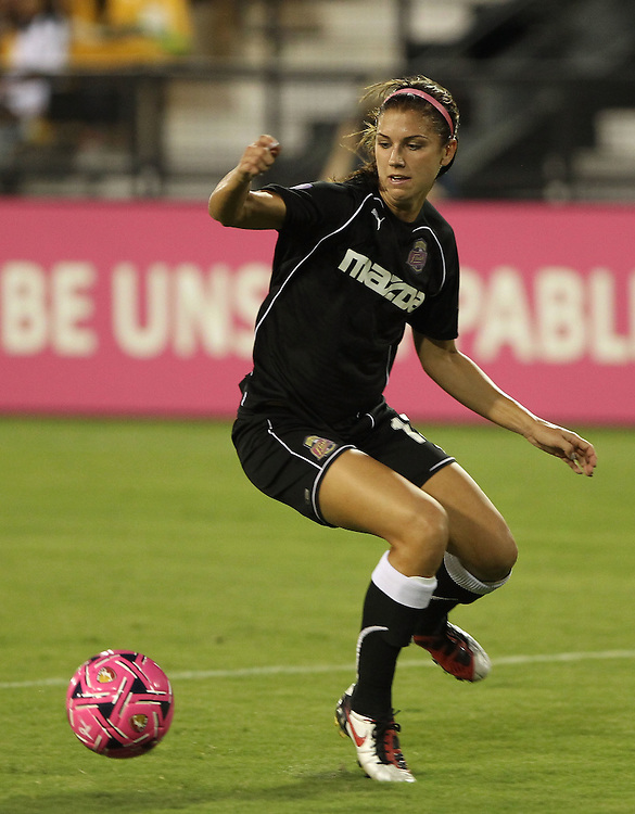 ATLANTA, GA - AUGUST 06:  Forward Alex Morgan #13 of the Western New York Flash tries to control the ball during the Women's Professional Soccer game between the Atlanta Beat and the Western New York Flash at Kennesaw State University Soccer Stadium on August 6, 2011 in Atlanta, Georgia.  (Photo by Mike Zarrilli/Getty Images)