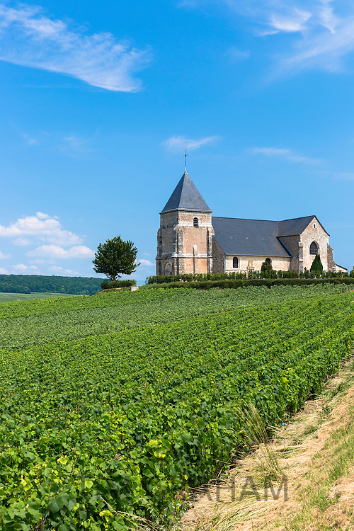 L'Eglise de Chavot, 12th Century Church of Chavot, on Tourist Route of Champagne in Marne, Champagne-Ardenne region, France
