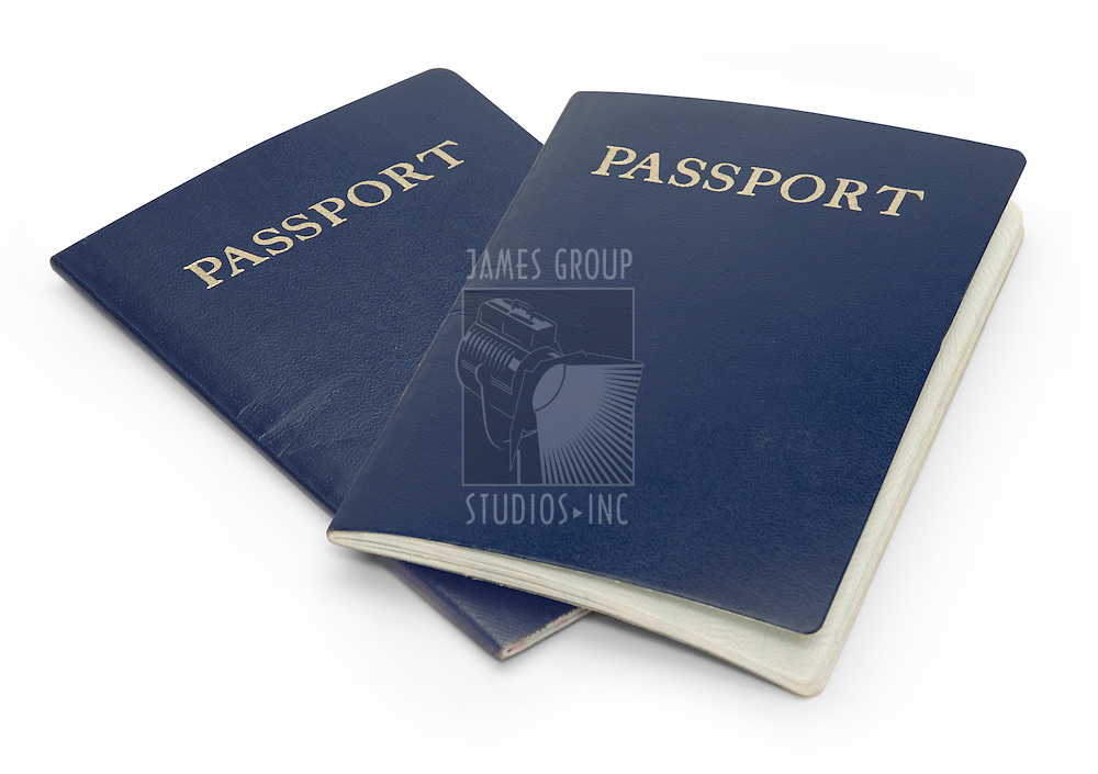 Two passports isolated on a white background with clipping path