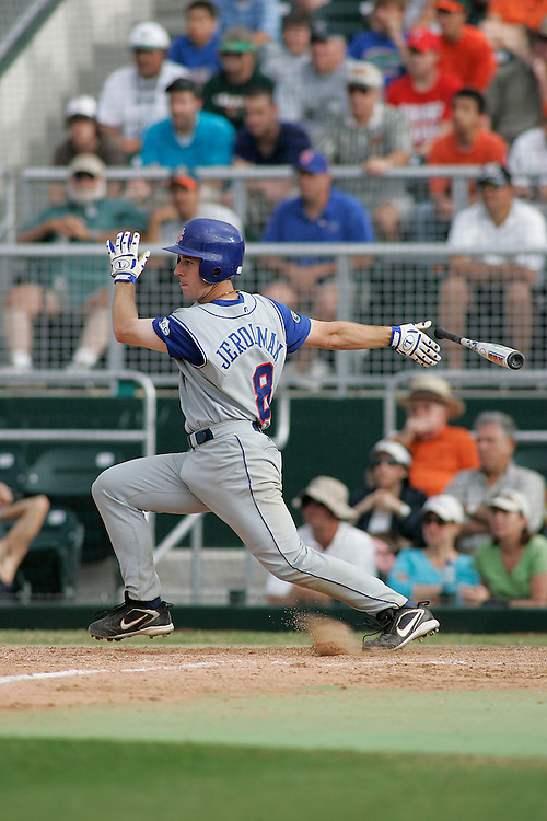 University of Florida catcher Brian Jeroloman in action during the Gators 2-1 victory over the Miami Hurricanes on February 17, 2006 at Mark Light Field in Coral Gables, Florida.