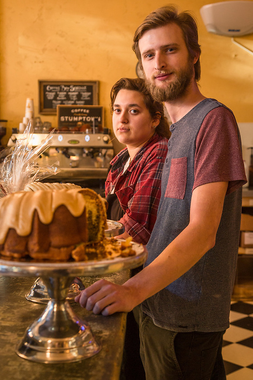 Employees Tori Barr and Dylan Jewett prepare to close shop at the Model Bakery in Saint Helena.