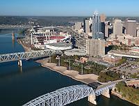 Cincinnati Skyline with Serpentine Wall