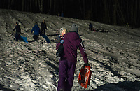 Laconia Parks and Rec sledding party at Memorial Hill.   Karen Bobotas for the Laconia Daily Sun