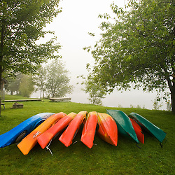 Kayaks near the boat launch at Lake Francis State Park in Pittsburg, New Hampshire.