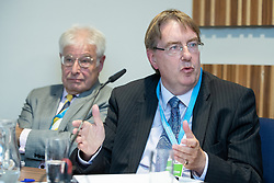 "© Licensed to London News Pictures . 01/10/2018. Birmingham, UK. Professor Alan Winters , John Howell MP . Prospect magazine fringe event titled "" Beyond tariffs where are our opportunities to boost trade post-Brexit "" , supported by Associated British Ports . Day 2 of the Conservative Party conference at the ICC in Birmingham . Photo credit: Joel Goodman/LNP"