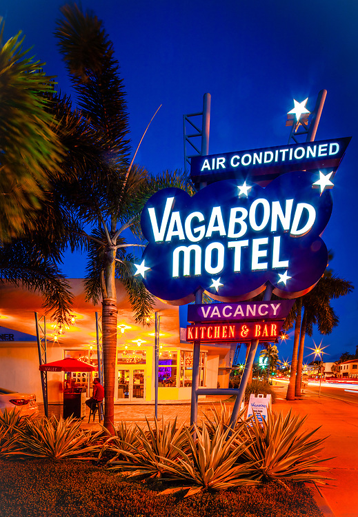 The iconic, Miami Modern (MiMo) style Vagabond Motel designed by architect Robert Swartburg in 1953 and restored by redeveloper Avra Jain in 2013 is a landmark on Miami's Biscayne Boulevard.