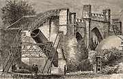 Lord Rosse's great 72-inch (1.828m) diameter reflecting telescope of 1845, called the Leviathan of Parsonstown.  Mounted between two brick walls, it could move only in a north-south direction.  The Earth's rotation provided movement in an east-west direction.  Engraving from 'Astronomie Populaire' by Camille Flammarion (Paris, 1881). William Parsons, 3rd Earl of Rosse (1800-1867).