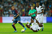 Paris Saint Germain's Brazilian forward Neymar Jr dribbles during the French championship L1 football match between Paris Saint-Germain (PSG) and Saint-Etienne (ASSE), on August 25, 2017 at the Parc des Princes in Paris, France - Photo Benjamin Cremel / ProSportsImages / DPPI
