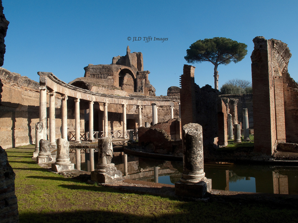 Tivoli, Villa Adriana, Maritime Theatre.  Remains of the emperor's private study, on an islet surrounded by a moat.