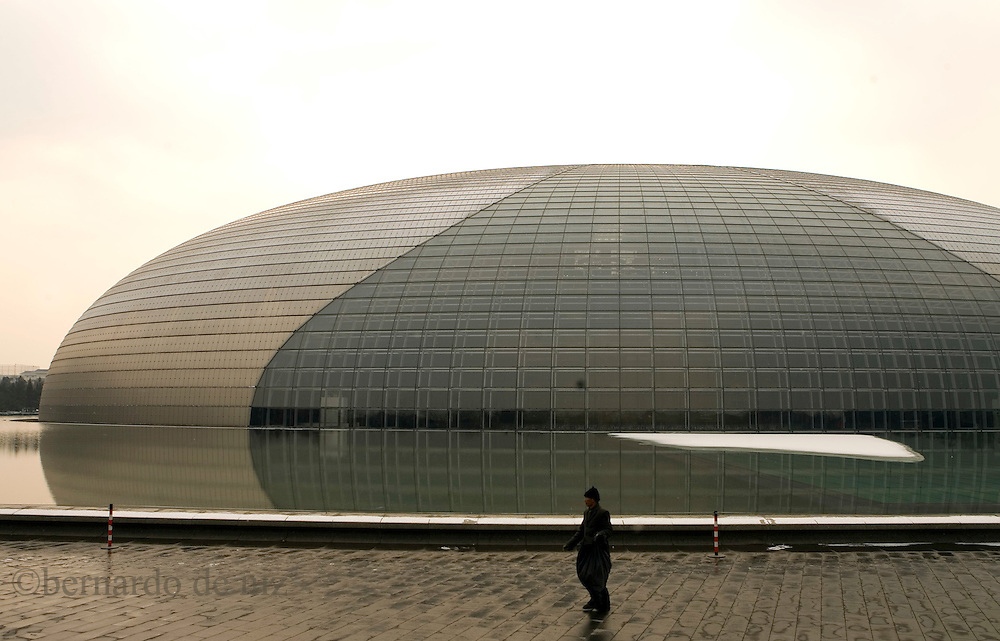 View of the National Grand Theater in Beijing, China. The city's futuristic new national theater, containing a 2,416-seat opera house, a 2,017-seat concert hall and a 1,040-seat theater will formally open with a series of performances.in Beijing, China January 22, 2008. Photos: Bernardo De Niz