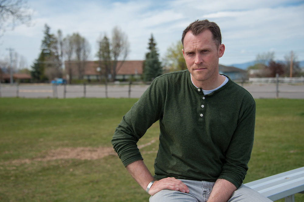 Diren Dede's history teacher Cameron Johnson (left) of Big Sky High School in Missoula, Montana, on the soccer field where Dede, a 17-year-old German exchange student who was shot and killed by a neighbor, played.